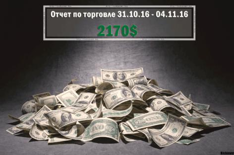 Отчет по торговле на бинарных опционах за 31.10.16 – 04.11.16