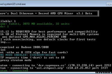 Дуал майнинг криптовалюты Ethereum и Decred